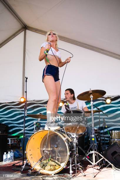 Amy Taylor and Bryce Wilson of Amyl and the Sniffers perform at Hotel Vegas on March 14 2019 in Austin Texas
