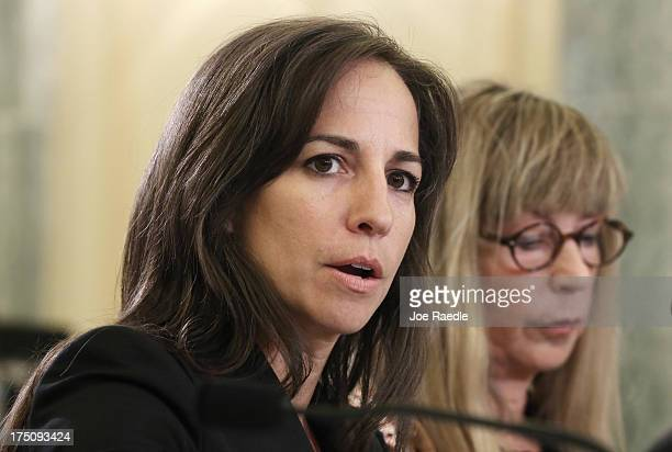 Amy Taylor vice president and general manager of Red Bull North America Janet Weiner CFO and COO of Rockstar Inc testify during a hearing before the...