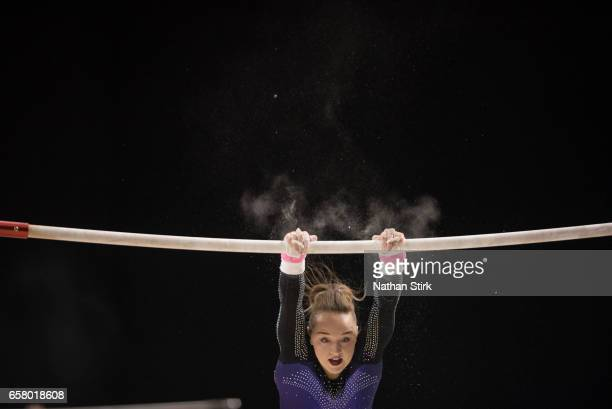 Amy Tinkler competes in the uneven bars during the British Gymnastics Championships at the Echo Arena on March 26 2017 in Liverpool England