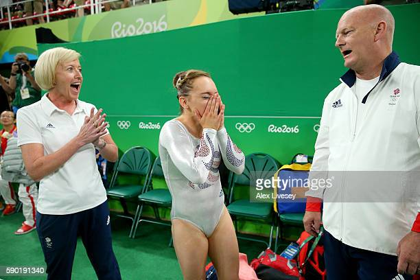 Amy Tinkler of Great Britain celebrates winning the bronze medali after competing on the Women's Floor final on Day 11 of the Rio 2016 Olympic Games...