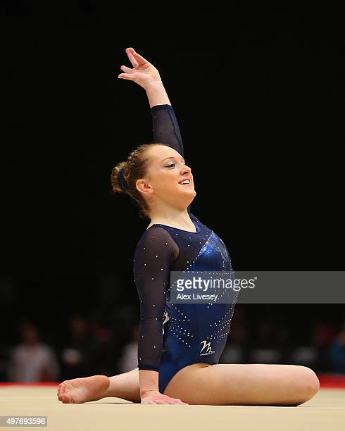 Amy Tinkler of Great Britain competes in the Floor during day five of the 2015 World Artistic Gymnastics Championships at The SSE Hydro on October 27...