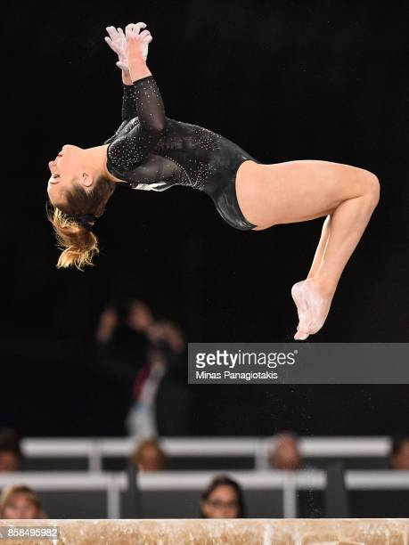 Amy Tinkler of Great Britain competes on the balance beam during the women's individual allaround final of the Artistic Gymnastics World...