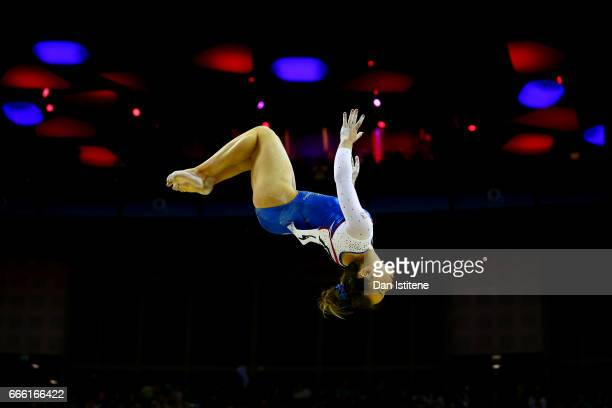 Amy Tinkler of Great Britain competes on the beam during the women's competition for the iPro Sport World Cup of Gymnastics at The O2 Arena on April...