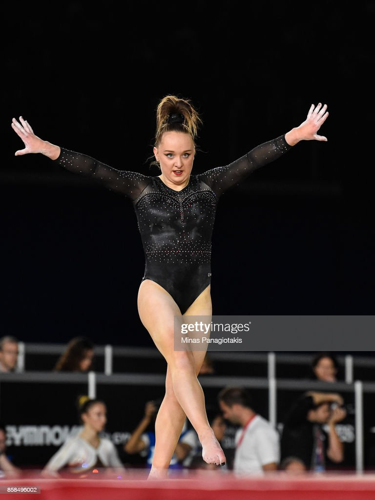 Amy Tinkler of Great Britain competes on the floor exercise during the women's individual all-around final of the Artistic Gymnastics World Championships on October 6, 2017 at Olympic Stadium in Montreal, Canada.