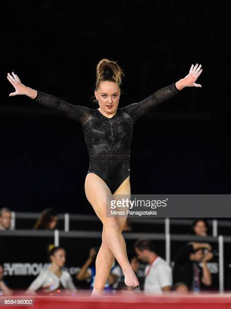 Amy Tinkler of Great Britain competes on the floor exercise during the women's individual allaround final of the Artistic Gymnastics World...