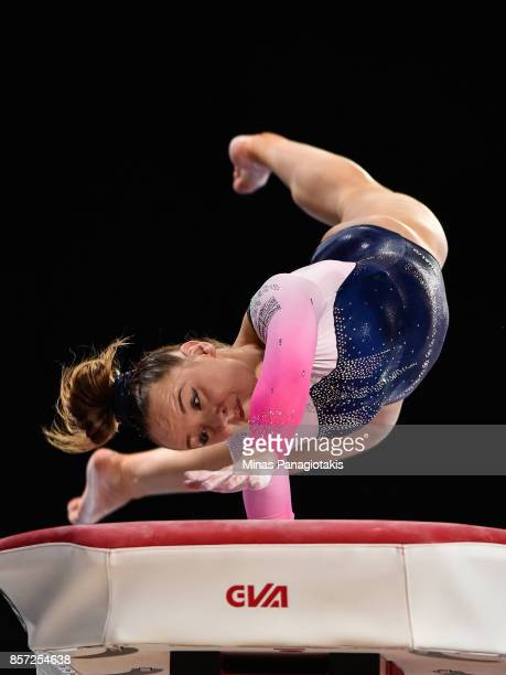 Amy Tinkler of Great Britain competes on the vault during the qualification round of the Artistic Gymnastics World Championships on October 3 2017 at...