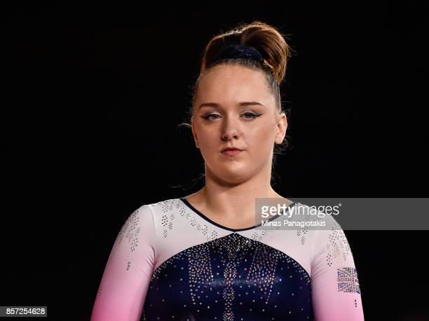 Amy Tinkler of Great Britain prepares to compete on the floor exercise during the qualification round of the Artistic Gymnastics World Championships...