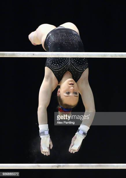 Amy Tinkler of Great Britain trains on the uneaven bars during day two of the 2018 Gymnastics World Cup at Arena Birmingham on March 22 2018 in...