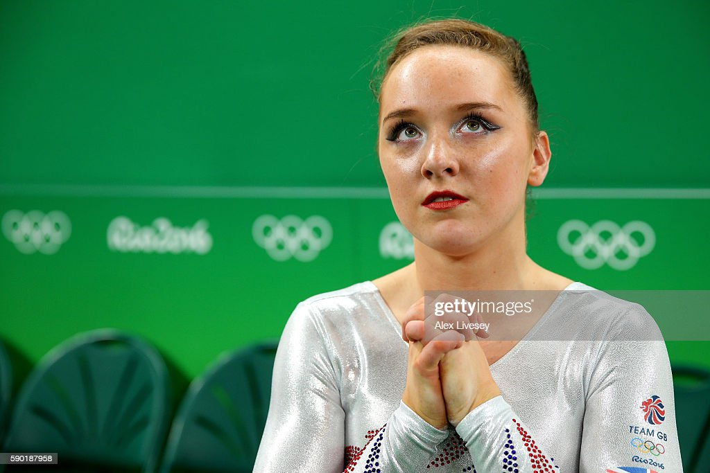 Amy Tinkler of Great Britain waits for the score of Vanessa Ferrari of Italy on the Women's Floor final on Day 11 of the Rio 2016 Olympic Games at the Rio Olympic Arena on August 16, 2016 in Rio de Janeiro, Brazil.