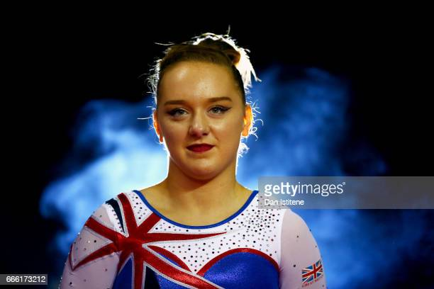 Amy Tinkler of Great Britain walks in to the arena to compete in the women's competition for the iPro Sport World Cup of Gymnastics at The O2 Arena...