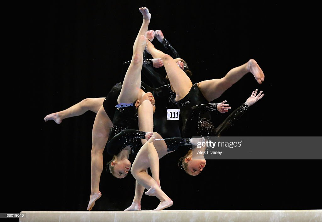 Amy Tinkler of South Durham competes in the beam during the Women's Artistic Apparatus Finals on day three of the Mens & Womens Artistic British Championships 2015 at the Echo Arena on March 29, 2015 in Liverpool, England.