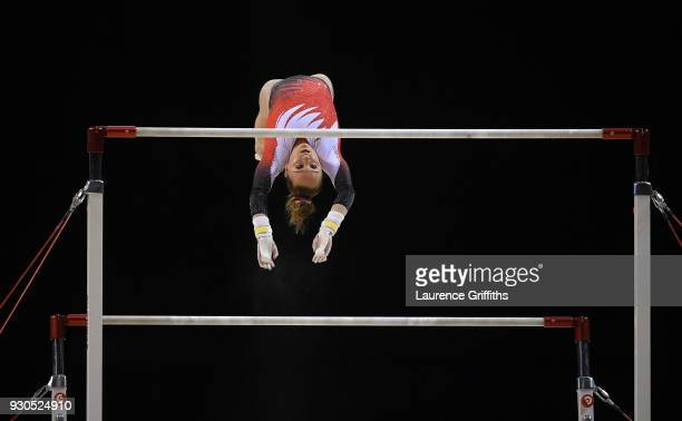 Amy Tinkler of South Essex Gymnastics Club competes on the Uneven Bars in the WAG Senior Apparatus Final during the Gymnastics British Championships...