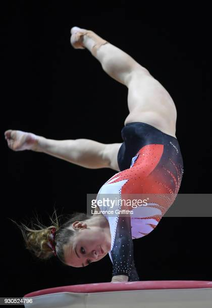 Amy Tinkler of South Essex Gymnastics Club competes on the Vault in the WAG Senior Apparatus Final during the Gymnastics British Championships at...