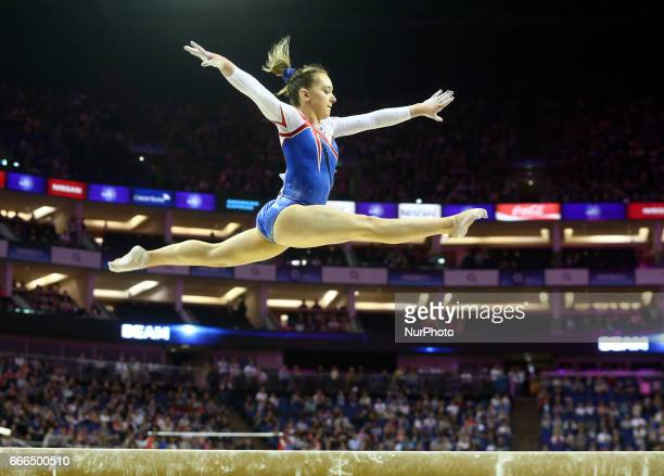 Amy Tinkler on Beam during the IPRO Sport World Cup of Gymnastics at The O2 Arena London England on 08 April 2017