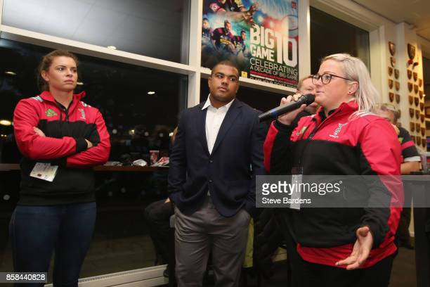 Amy Turner Abbie Scott of Harlequins Ladies and Kyle Sinckler of Harlequins are interviewed in the members bar during the Aviva Premiership match...