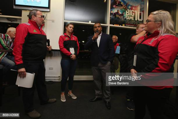 Amy Turner and Abbie Scott of Harlequins Ladies and Kyle Sinckler of Harlequins are interviewed in the members bar during the Aviva Premiership match...