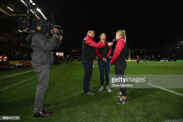 Amy Turner and Abbie Scott of Harlequins Ladies interviewed at half time during the Aviva Premiership match between Harlequins and Sale Sharks at...