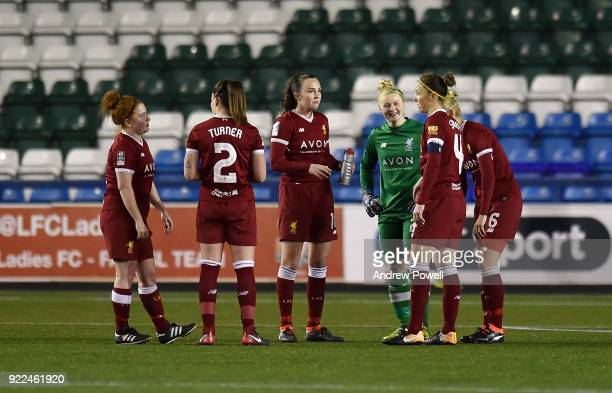Amy Turner Martha Harris Sophie Ingle Caroline Weir Casey Stoney and Becky Flaherty of Liverpool Ladies during the FA WSL match between Liverpool...