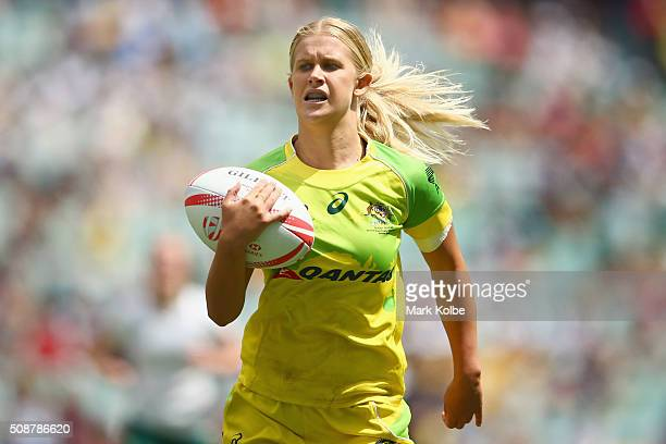 Amy Turner of Australia breaks away to score a try during the 2016 Sydney Sevens internationa friendly womens match between Australia and Ireland at...