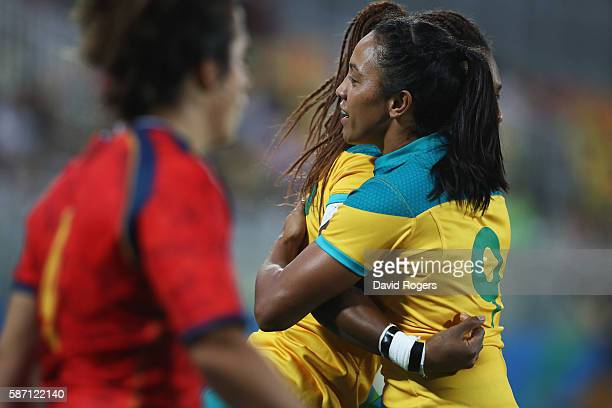 Amy Turner of Australia celebrates after defeating Spain during the Women's Quarter-final 1 rugby match on Day 2 of the Rio 2016 Olympic Games at...