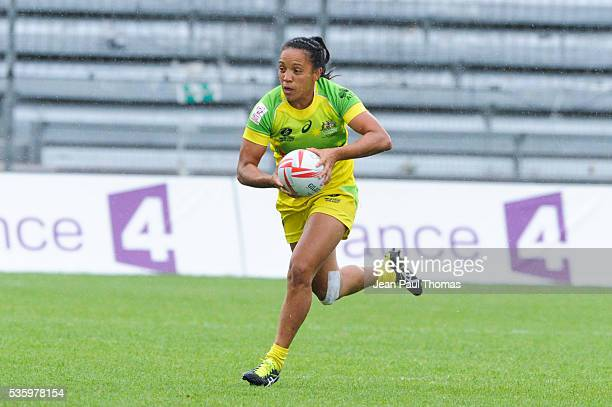 Amy Turner of Australia during the HSBC Women's Sevens Series match between Australia vs New Zealand on May 29 2016 in Clermont France
