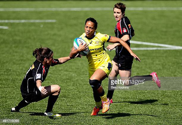 Amy Turner of Australia makes a break during the IRB Women's Sevens World Series match between Australia and Canada on May 17 2014 in Amsterdam...