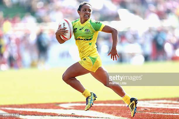 Amy Turner of Australia scores a try against France during the Emirates Dubai Rugby Sevens HSBC World Rugby Women's Sevens Series at The Sevens...