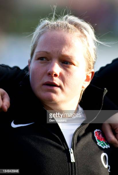 Amy Turner of England looks on prior to the Autumn Internationals Series match between England Women and New Zealand Women at Esher Rugby Club on...