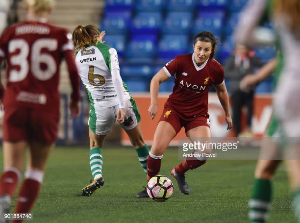 Amy Turner of Liverpool Ladies competes with Kayleigh Green of Yeovil Town Ladies during the FA Women's Super League match between Liverpool Ladies...