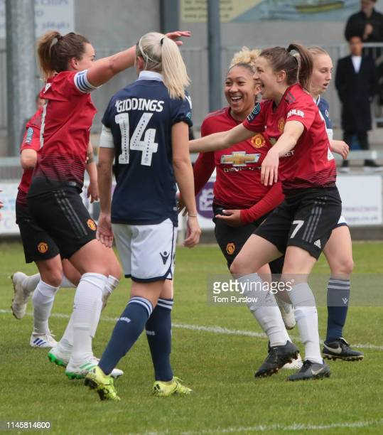 Amy Turner of Manchester United Women celebrates scoring their second goal during the FA Women's Championship match between Manchester United Women...