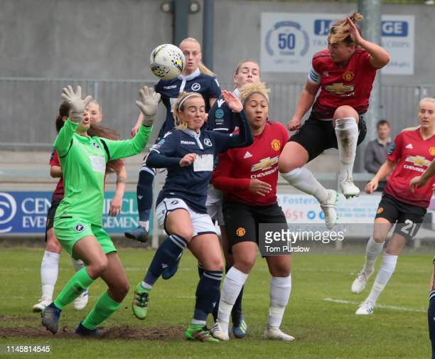 Amy Turner of Manchester United Women in action during the FA Women's Championship match between Manchester United Women and Millwall Lionesses at...