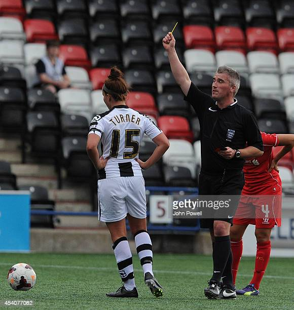 Amy Turner of Notts County is booked at Select Security Stadium on August 24, 2014 in Widnes, England.