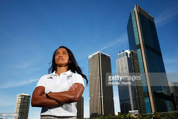 Amy Turner of the Australian Women's Sevens Rugby Team poses during the Australian Olympic Games rugby sevens team announcement at Museum of...