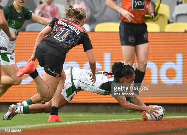 Amy Turner of the Maori All Stars scores a try during the NRL All Stars game between Indigenous and Maori Women's at Queensland Country Bank Stadium...