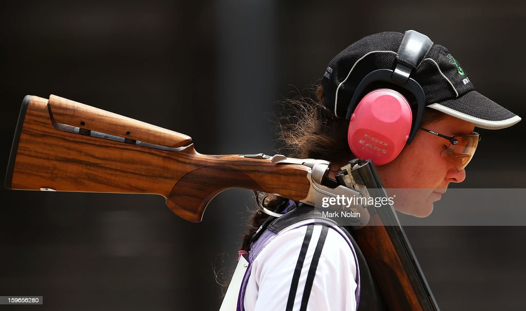 Amy Van Bysterveldt of New Zealand competes in the Womens skeet during day three of the 2013 Australian Youth Olympic Festival at the Sydney International Shooting Centre on January 18, 2013 in Sydney, Australia.