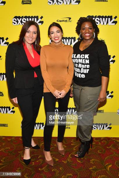 Amy Vilela Alexandria OcasioCortez and Cori Bush attend the 'Knock Down The House' Premiere 2019 SXSW Conference and Festivals at Paramount Theatre...