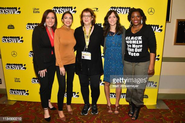 Amy Vilela Alexandria OcasioCortez Janet Pierson Rachel Lears and Cori Bush attends the 'Knock Down The House' Premiere 2019 SXSW Conference and...