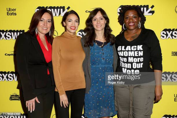 Amy Vilela Congresswoman Alexandria OcasioCortez Producer Writer and Editor Robin Blotnick and Cori Bush attend the SXSW premiere of the Netflix...