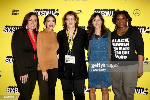 Amy Vilela Congresswoman Alexandria OcasioCortez SXSW Film director Janet Pierson Producer Writer and Editor Robin Blotnick and Cori Bush attend the...