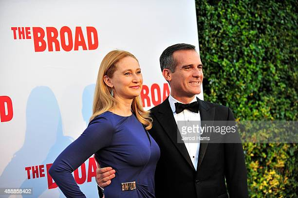 Amy Wakeland and Los Angeles Mayor Eric Garcetti attend The Broad Museum Black Tie Inaugural Dinner at The Broad on September 17 2015 in Los Angeles...