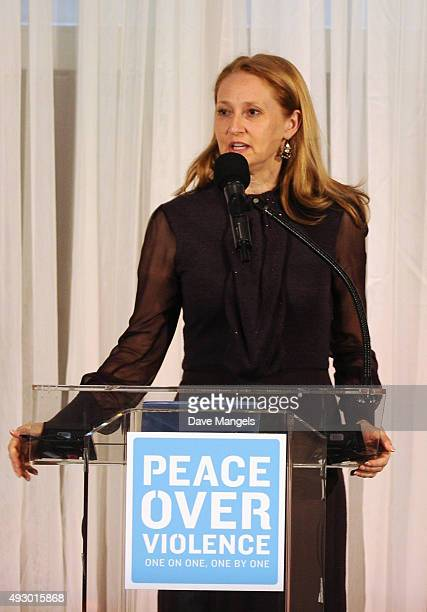 Amy Wakeland speaks onstage during the 44th annual Peace Over Violence Humanitarian Awards at Dorothy Chandler Pavilion on October 16 2015 in Los...