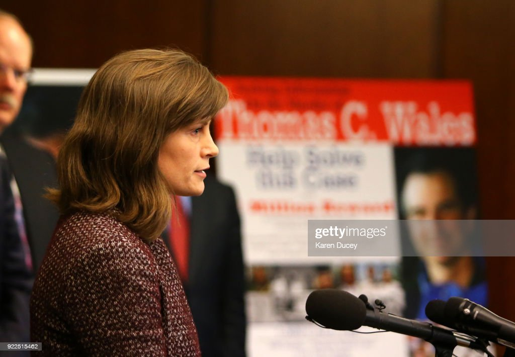 Amy Wales, Daughter of Tom Wales, speaks at a press conference on the investigation into the murder of federal prosecutor Tom Wales on February 21, 2018 in Seattle, Washington.