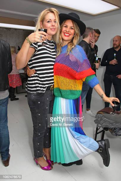 Amy White and Lliana Bird attend a private view of Daft Apeth by Serge Pizzorno of Kasabian at No Ho Showrooms on October 18 2018 in London England