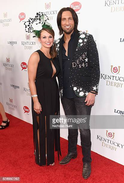 Amy Whitham and singer J D Shelburne arrive at the 142nd Kentucky Derby at Churchill Downs on May 7 2016 in Louisville Kentucky