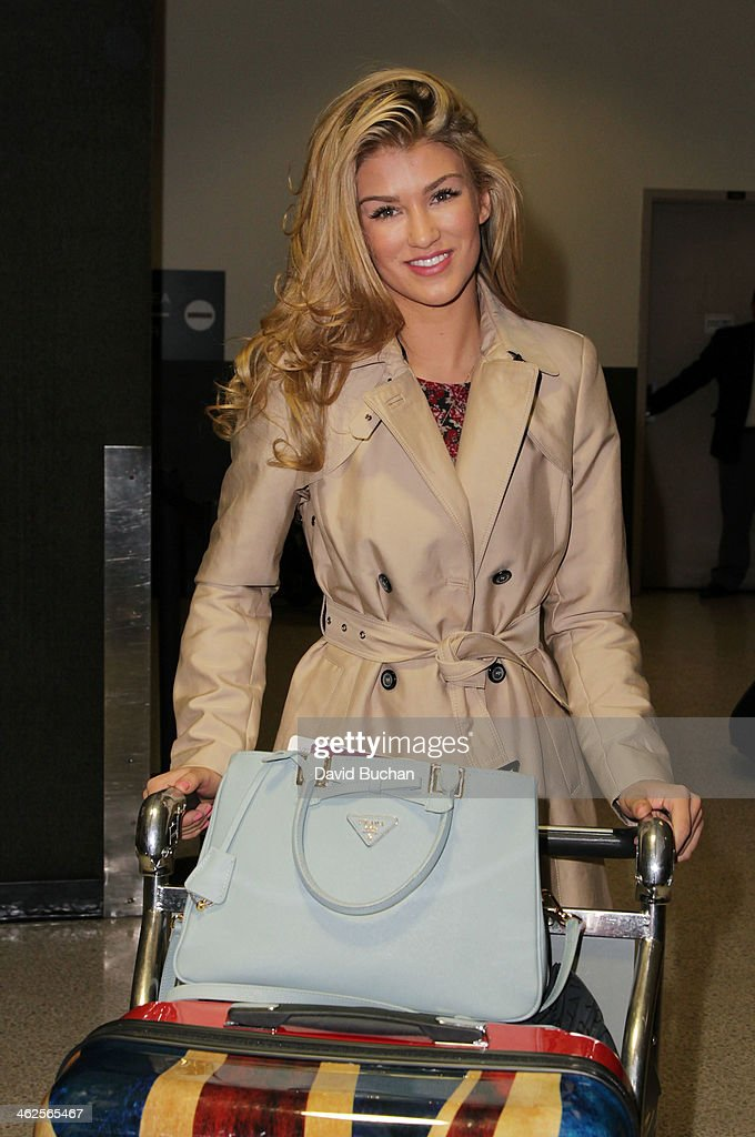 Amy Willerton arrives at Los Angeles International Airport on January 13, 2014 in Los Angeles, California.