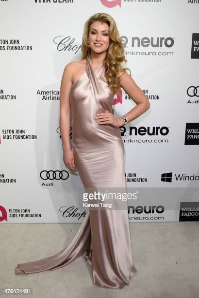 Amy Willerton arrives for the 22nd Annual Elton John AIDS Foundation's Oscar Viewing Party held at West Hollywood Park on March 2 2014 in West...