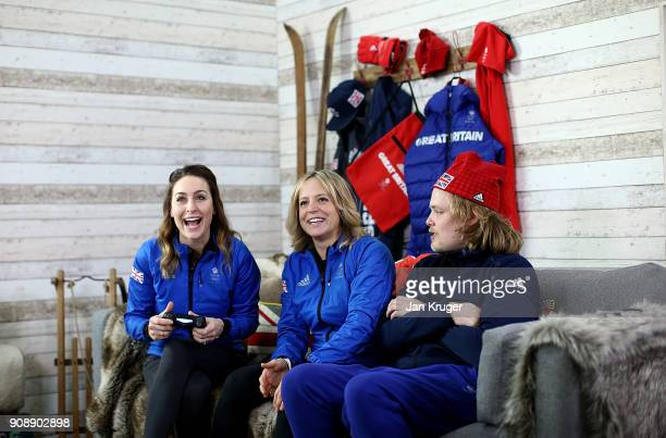 Amy Williams and Jenny Jones play computer games during Team GB Kitting Out Ahead Of Pyeongchang 2018 Winter Olympic Games on January 22 2018 in...