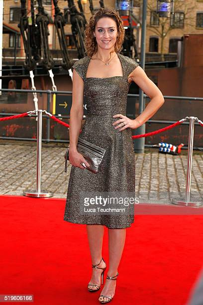 Amy Williams arrives for The British Academy Games Awards 2016 at Tobacco Dock on April 7 2016 in London England