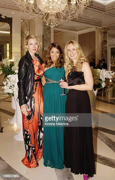 Amy Williams Katy Wickremesinghe and Hannah Pawlby arrive at the launch of the Four Seasons Hotel Baku on November 17 2012 in Baku Azerbaijan