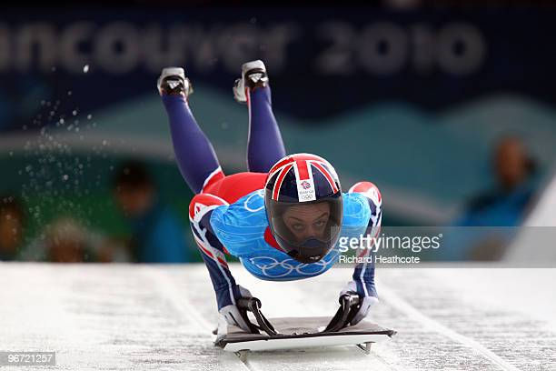 Amy Williams of Great Britain and Northern Ireland competes in the women's skeleton training on day 4 of the 2010 Winter Olympics at Whistler Sliding...